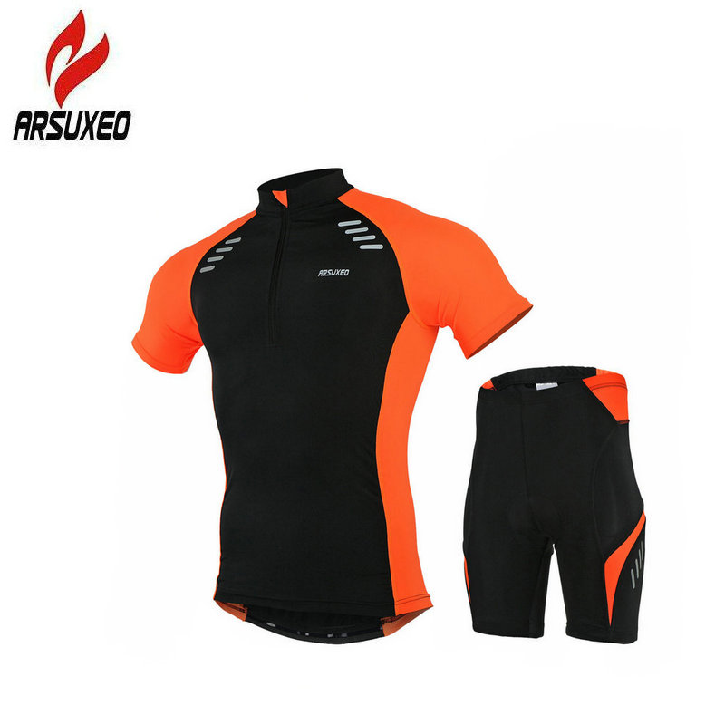 ARSUXEO Summer Men Cycling Jersey Set MBT Bike Gel Breathable Pad Bicycle Clothing High Stretch Quick Dry Short Sleeve Sportwear arsuxeo 130019 men s breathable quick dry short cycling jersey top pants set black l