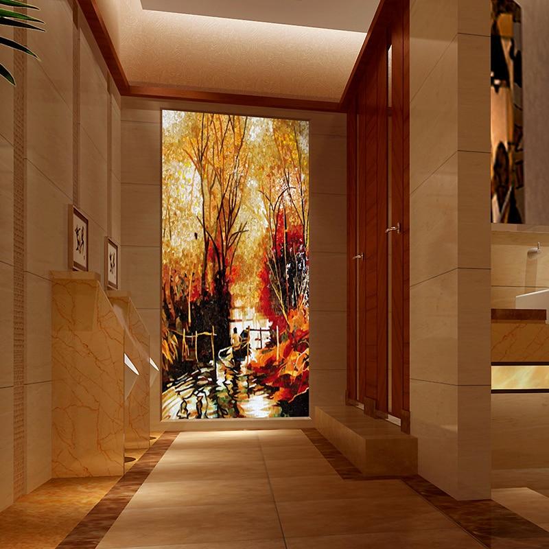 smt07 jy jh ws03 premium hallway backsplash yellow forest art glass