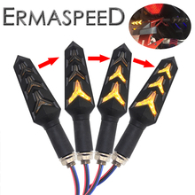 2 Pairs Turn Signal Lights Motorcycle Flowing Water Direction 3 Wires Amber Stop Signals Indicator DRL Cafe Racer Brake Light 3 pairs motorcycle front
