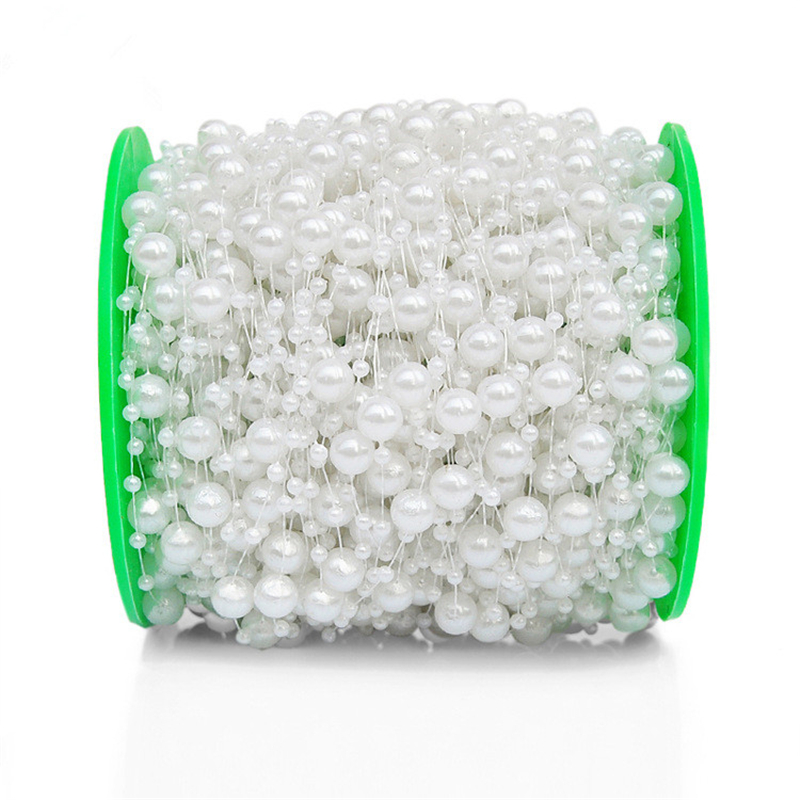 5m 10m 60m Fishing Line Pearls Chain Pearl Beads Chain: 4 Style Fishing Line Artificial Pearls Beads Chain Garland