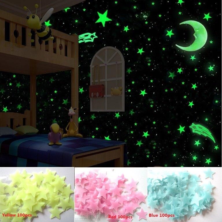 Pink 100psc Luminous Stickers Kids Bedroom Fluorescent Glow In The Dark Stars Wall Sticker