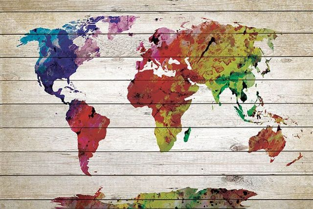 Free shipping color world map canvas prints oil painting printed on free shipping color world map canvas prints oil painting printed on canvas wall art decoration picture gumiabroncs Image collections