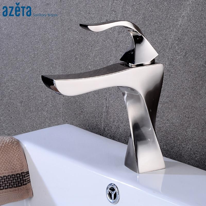 Robinet de lavabo en forme de spirale pour salle de bain robinet de lavabo à poignée unique pour eau froide et chaude robinet de lavabo en Nickel brossé AT6676BN