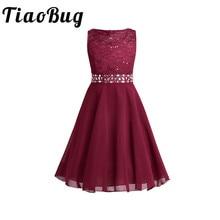 Платья с поясами для девочек без рукавов, расшитые блестками, элегантные кружевные вечерние платья для первого причастия