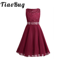 Sleeveless Sequined Flowers Girl Dresses With Sashes Elegant Lace Flower Bow First Communion Party Formal Dresses for Wedding