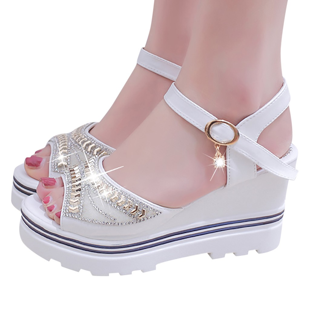 HTB1sv91UCzqK1RjSZFHq6z3CpXau - SAGACE Women Thick Bottom Sandals Wedges Sandals Shoes For Women Fashion Women Summer Wedge Heel Open Toe Buckle Strap Sandals
