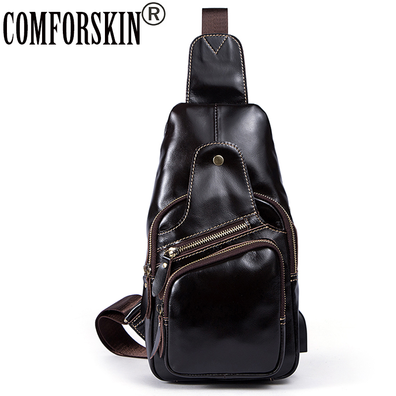 COMFORSKIN Bolsa Masculina Premium Cowhide Leather Famous Brand Designer European American Men Chest Pack 2018 Hot