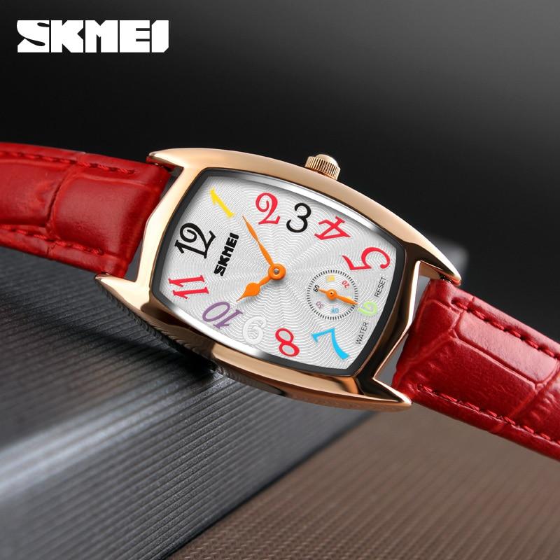 Women's Watches SKMEI Luxury Brand Fashion Rose Gold Quartz Leather Watch Women Ladies Wristwatch Relogio Feminino Montre Femme стоимость