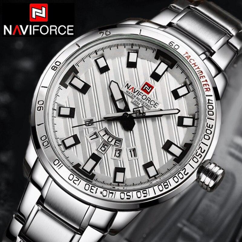 Prix pour NAVIFORCE Montres Hommes Marque De Luxe Montre Sport Quartz Horloge Hommes Sport de Montres Hommes En Acier Militaire Montre-Bracelet + boîte Navi Force