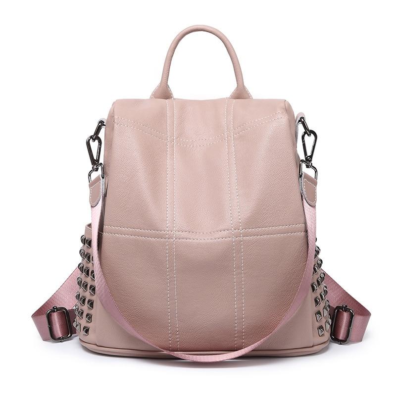QINRANGUIO Women Backpack 2020 Genuine Leather Backpack Women Fashion Rivet Backpack Female School Bags For Teenage Girls