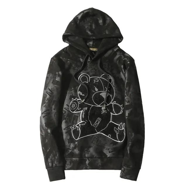 Mens Hoodies Bear Embroidery Full Pullover Hooded Sweatshirts Casual Fleece Streetwear Black Hoodie Sweat Capuche Homme