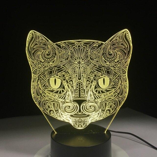 Us 17 99 Kuhlen Tier Licht 3d Vision Walking Katze Nachtlicht Fur Kinder 7 Farbwechsel Schlafzimmer Stimmung Baby Nachtlicht Katze Gesicht Lampe