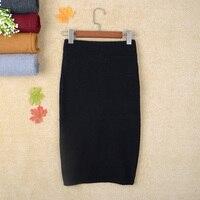 Herfst en winter modellen na de split stap rok knit thicken wol pakket hip rokken