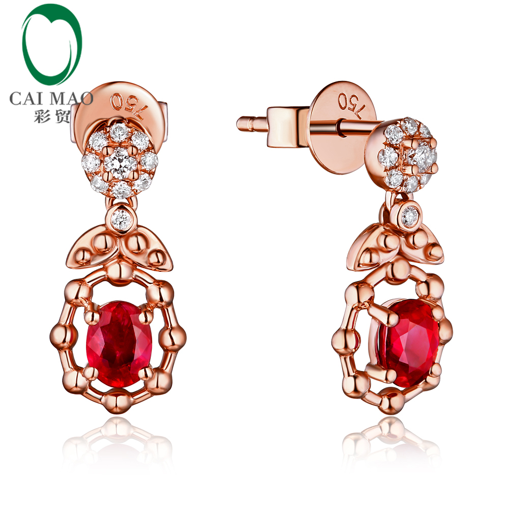 Caimao Jewelry 14k Gold Natural 0.68ct Ruby H SI Diamond Engagement Wedding Drop Earrings