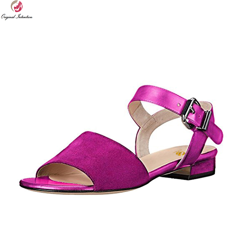Original Intention Fashion Women Sandals Open Toe Square Heels Sandals Black Red Purple Rose Pink Shoes Woman Plus US Size 4-15 зимняя шина kumho i zen kw31 175 65 r15 84r