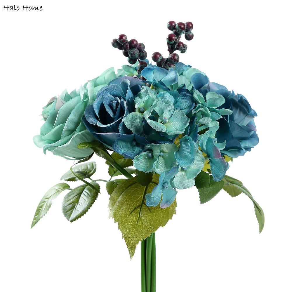 1 Manojo de Flor Artificial Azul Ramo Color de Rosa en forma de Decoración Del P