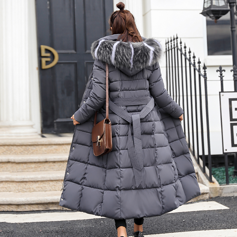 Image 5 - 2019 high quality fur collar women long winter coat female warm wadded jacket womens outerwear parka casaco feminino inverno-in Parkas from Women's Clothing
