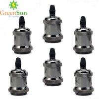 GreenSun 6Pcs Pearl Black E27 Aluminum Retro Lamp Holder Vintage Screw Bulb Base Pendant Lighting Socket Ceiling Light Adaptor