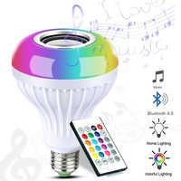 E27 inteligente RGB RGBW inalámbrico Bluetooth altavoz LED bombilla de luz 12 W Dimmable música lámpara Led con 24 teclas control remoto