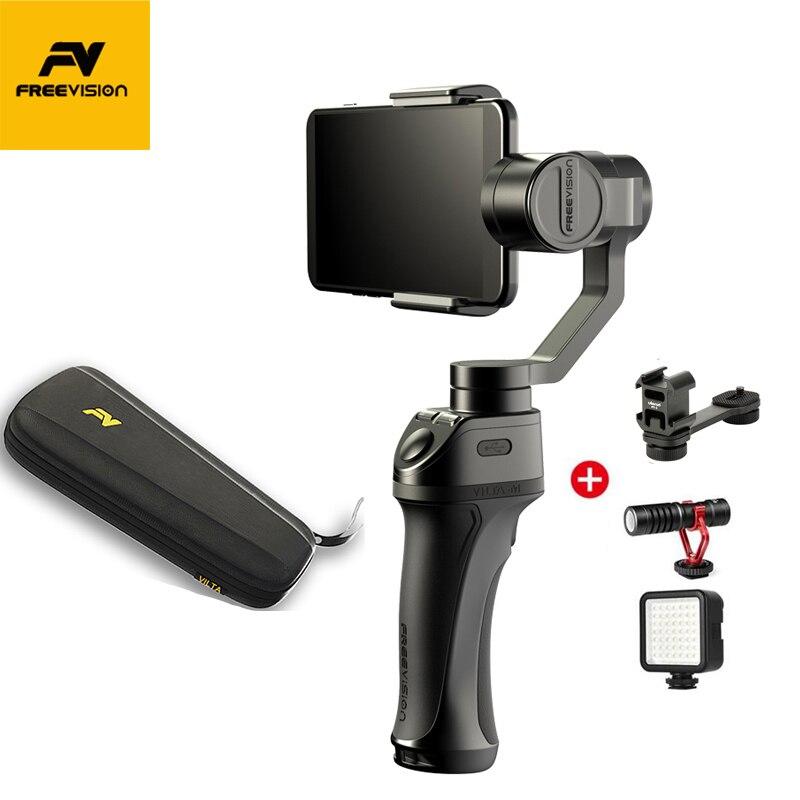 NOVA Freevision Vilta-M 3 Eixo Cardan Handheld Cardan Estabilizador Portátil para iPhone Andriod Smartphones Do Bluetooth para GoPro HERO