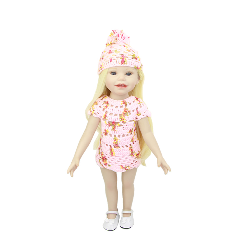 18 Inch Full Body Soft Vinyl Lifelike American Girls Realistic Baby Doll Princess Baby With Blue Eyes Kids Birthday Xmas Gift new winter american girls doll full vinyl girl princess doll windbreaker coat lifelike toy 18 inch 45 cm perfect birthday gift