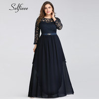 New Autumn Winter Navy Blue Formal Party Dress With Sleeve Elegant A Line O Neck Long Chiffon Lace Dress Women Plus Size Dresses