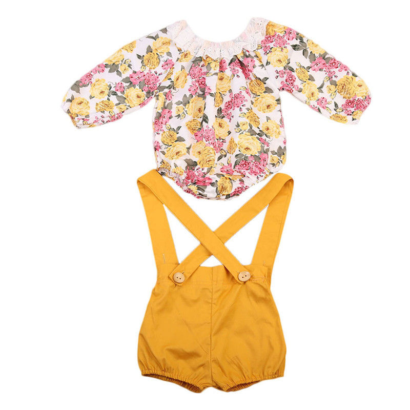 Newborn Baby Girls Princess Clothes Set Children Clothing Girl Floral Long Sleeve Bodysuits Short Overall Autumn Sunsuit 2PCs 2017 summer new children baby girl clothing denim set outfits short sleeve t shirt overalls skirt 2pcs set clothes baby girls