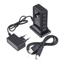 EU/US Plug High Speed 5 Port USB 2.0 Adapter + AC Power For Laptop PC Computer Mobile Phone
