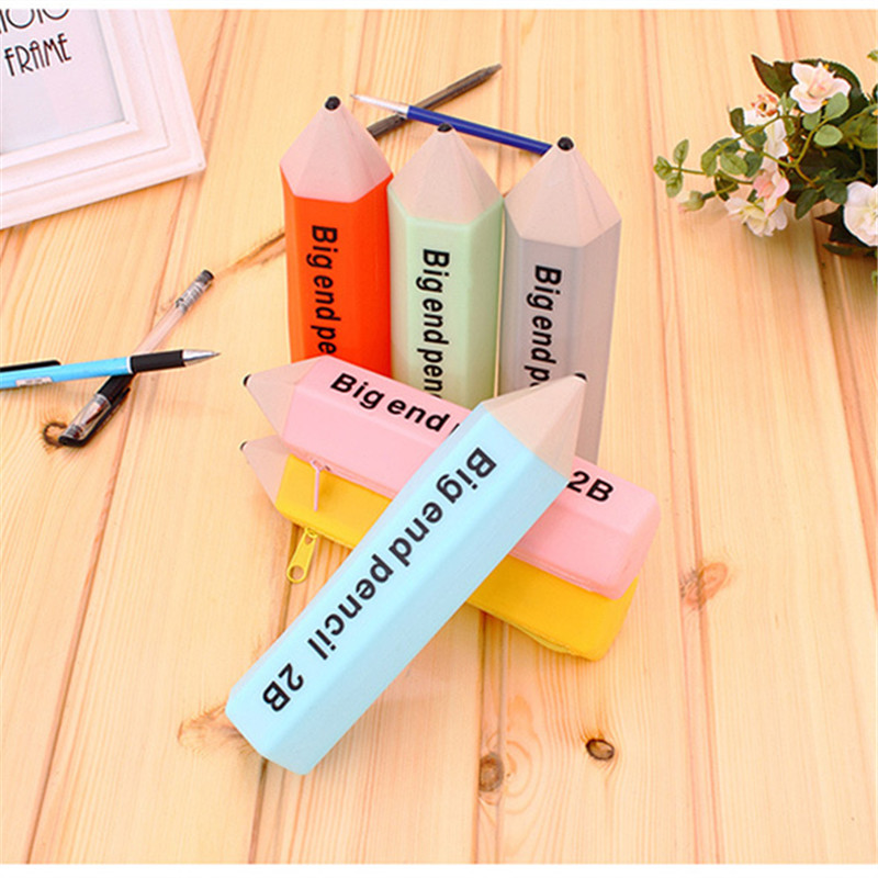 Hot Sale Creative Pencil Shape Stationery Candy Color Pencil Case Pouch Cute Silica Gel Pen Bag
