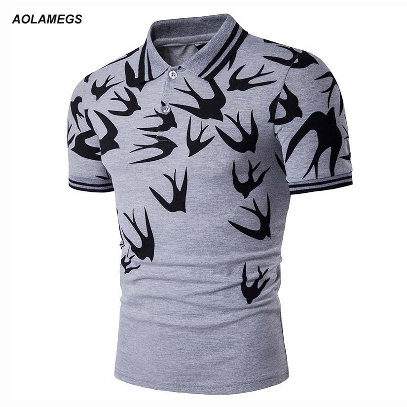 Camisa Pólo Homens Swallow Impresso Polos Aolamegs Europeia   American  Style 2017 Verão Nova Marca de Algodão de Manga Curta Polo Homme 9a78b5869733d