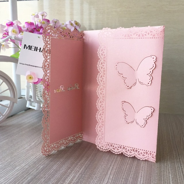 30pcs Free Printable Laser Cut Butterfly Wedding Invitations Cards Pink Color Greeting For