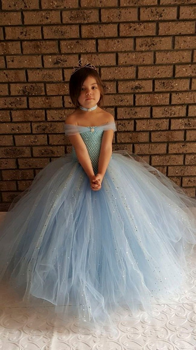 Light Blue V- shaped Gown Tutu Dress - Stunning Blue Glittery Gown dress inspired by FunkidsandUs Boutique1