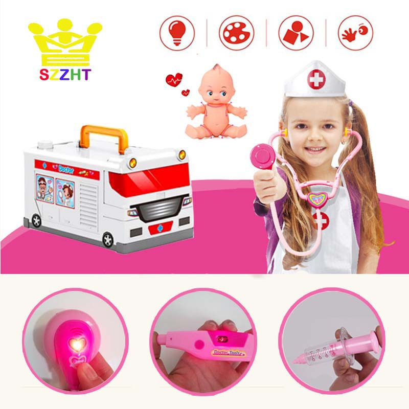 Kids Ambulance Doctor Toys Pretend Play Children Medicine Chest Doll Uniform Stethoscope Cosplay Nurse Dentist Medical Box Gifts image