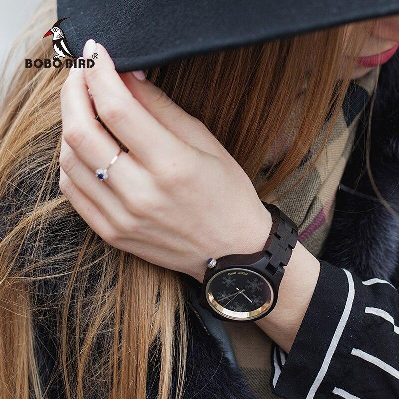 Бобо птица дерево для женщин часы Отличительной снежинка на очки деревянный ремешок изысканный повседневные часы дамы ч