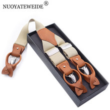 NUOYATEWEIDE Leather Alloy 6 Clips Braces Adjustable Men Suspenders Commercial