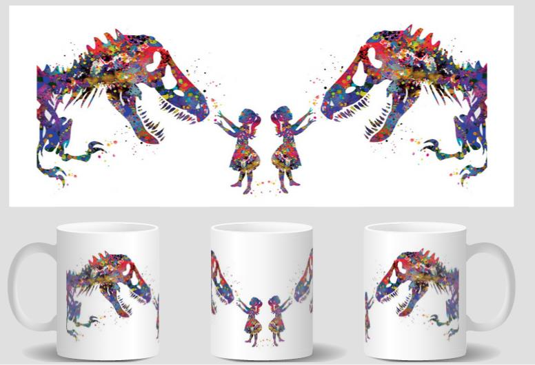 Girl and Dinosaur T-Rex mugs coffee cups mug heat changing color cold hot heat reveal mugen magic magic kids gifts tea travel