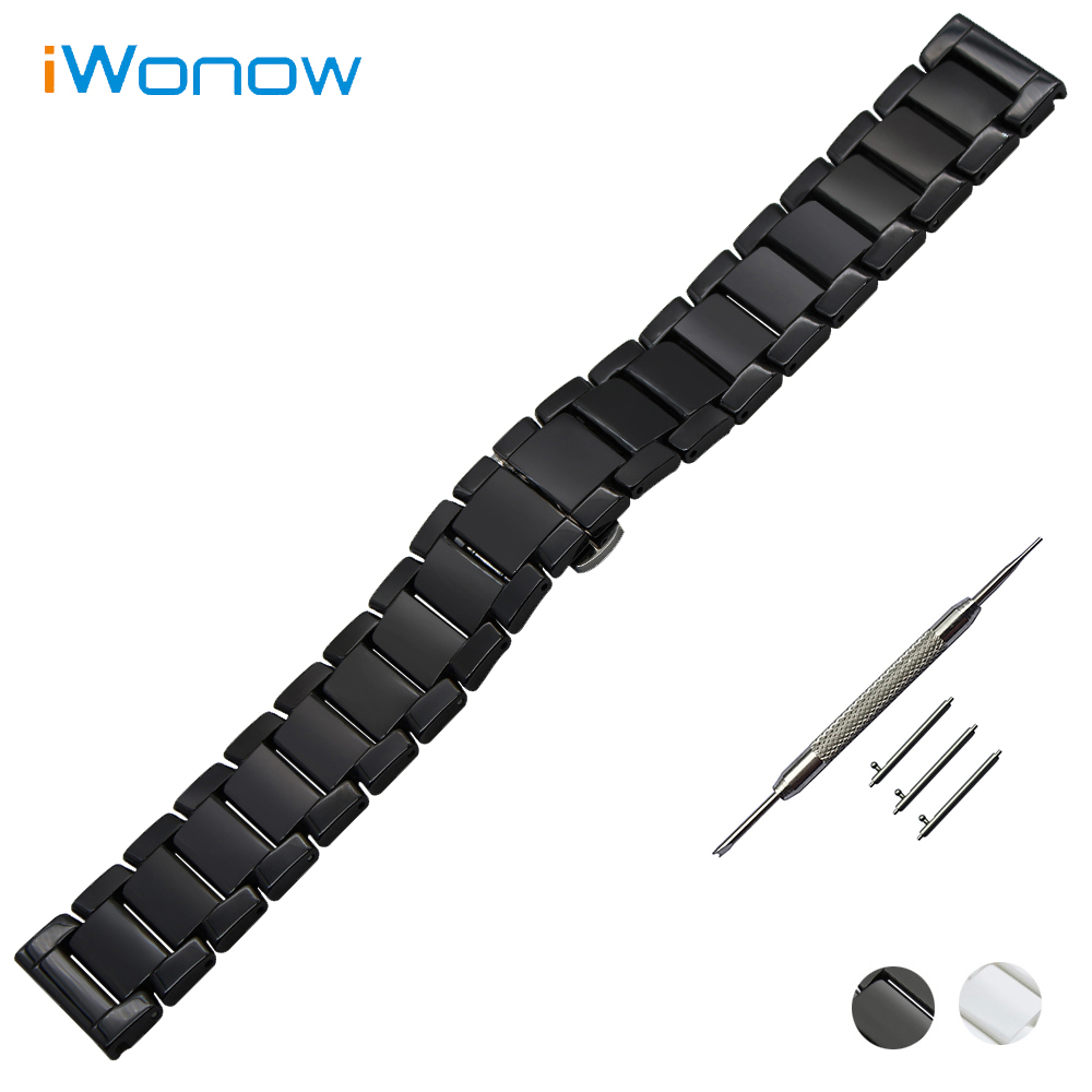 Quick Release Ceramic Watch Band 22mm for Asus ZenWatch 1 2 Men WI500Q WI501Q Butterfly Buckle Strap Wrist Bracelet Black White 18mm 20mm 22mm quick release watch band butterfly buckle strap for tissot t035 prc 200 t055 t097 genuine leather wrist bracelet