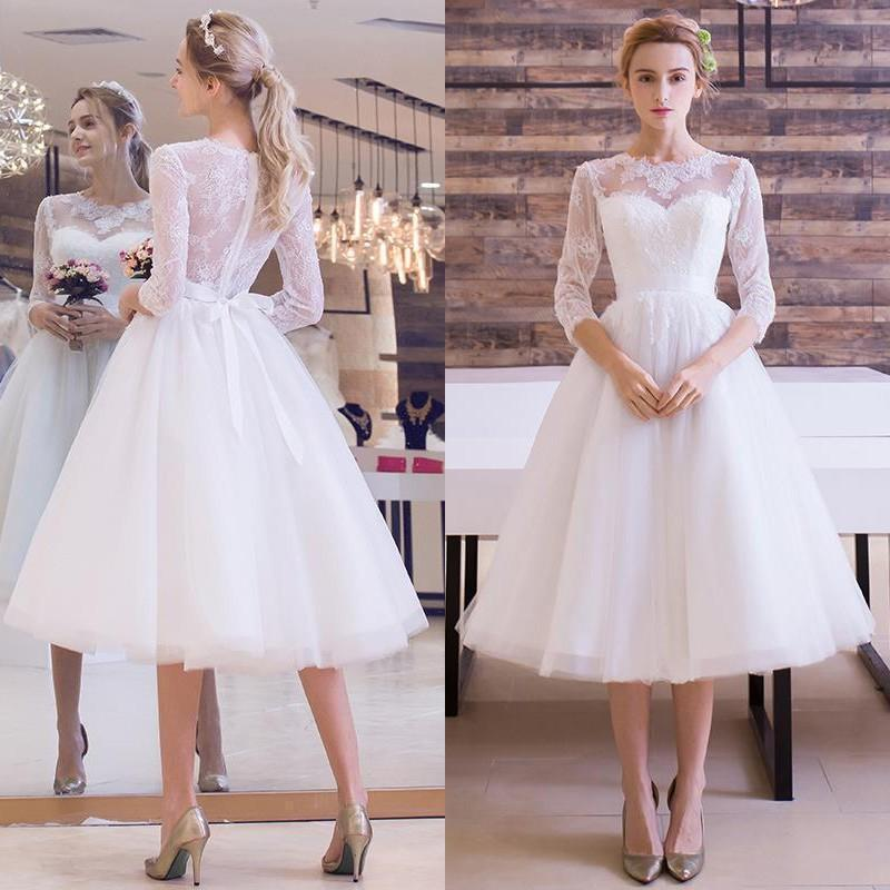 Wedding Dresses 2017 Vintage Plus Size Scoop Lace Short