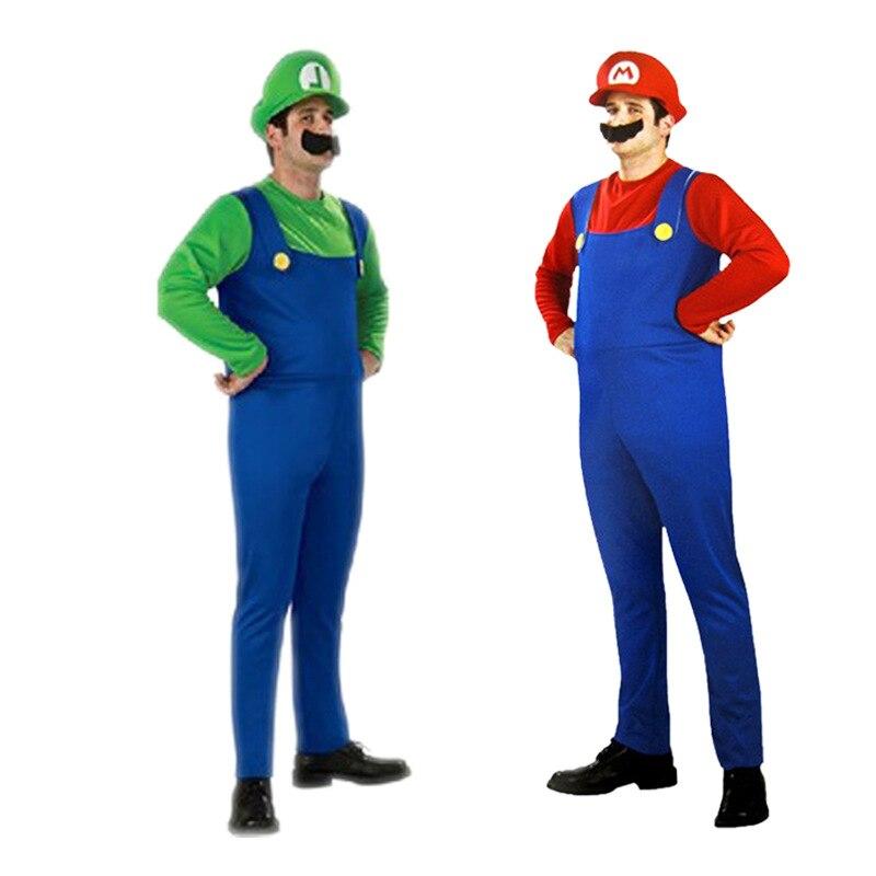 Super Mario Luigi laste ja täiskasvanute tegelaskuju kostüüm / punane ja roheline variant 4