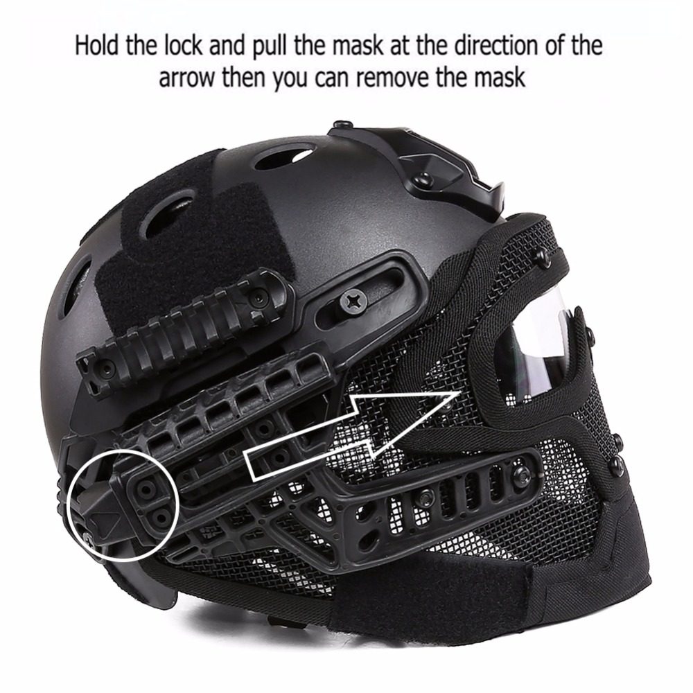 New G4 Tactical Full Face Cover Protection Mask Helmet with Goggle for PJ Vent Airsoft Paintball WarGame CS Tactical Hunting tactical wargame motorcycling helmet w eye protection glasses black size l7