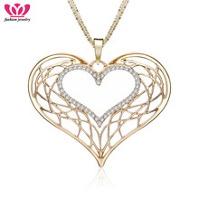 Gothic Hollow Heart Pendant Necklace Female Gold Silver Hollow Rhinestone Necklaces For Women Birthday Jewelry Gift 2020 stylish rhinestone heart hollow out pendant necklace for women