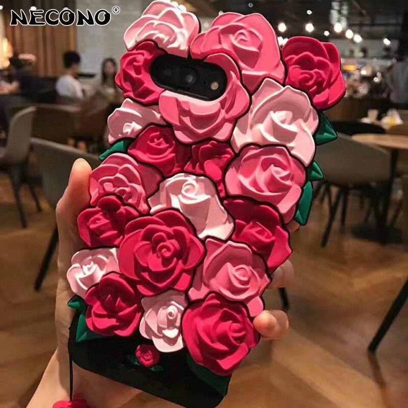 Nuovo 3D Carino Romantico Rosa Fiori Cassa Del Telefono per il iphone XS MAX XR 8 7 Più 6 6 s Plus molle Del Silicone di Lusso di Modo di Trasporto Cordino