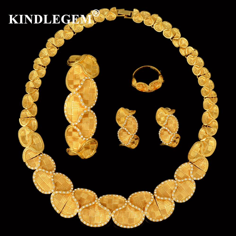 Kindlegem Alibaba Best Selling 2018 Products Yellow Gold Color Indian Geometry Jewelry Set Charms Ladies Bride Accessories