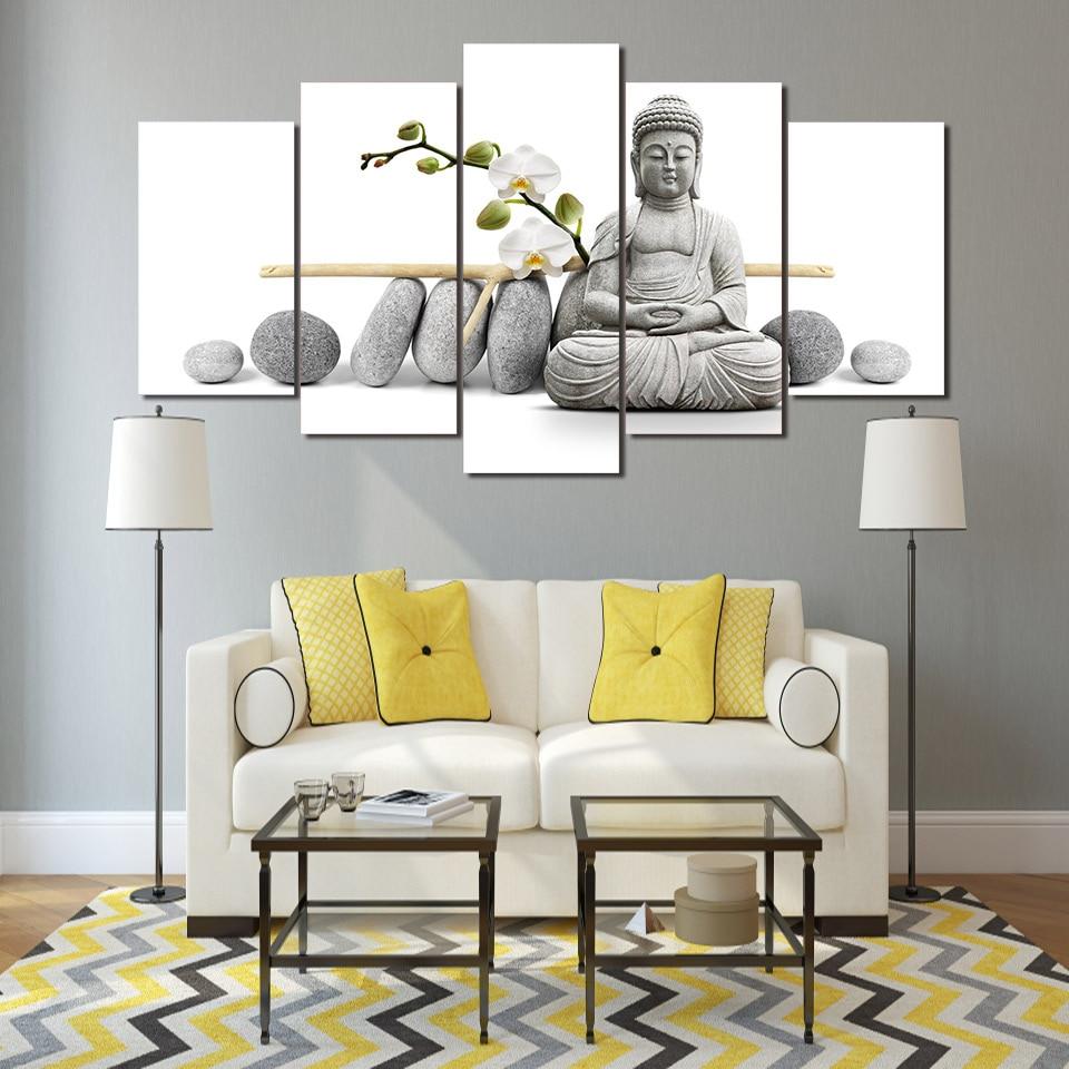 HD tisk 5-ti kusové plátno art Zen Buddha s malováním na orchidej malování Buddha na plátně Doprava zdarma / ny-3058