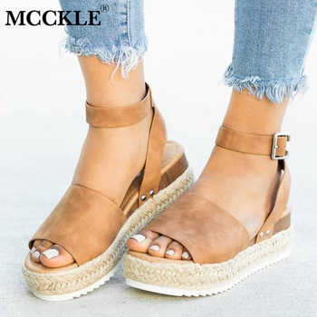 MCCKLE Women Leopard Sandals PU Leather Ankle Buckle Peep Toe Flat Platform Female Shoes Summer Thick Bottom Plus Size Footwear - DISCOUNT ITEM  41% OFF All Category