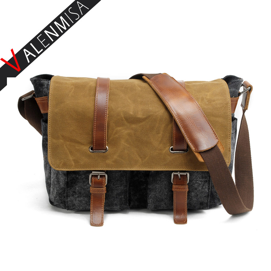 Women Men Vintage Canvas Messenger Bag Crazy Horse Leather Soft Man Travel Bags Retro School Bag Cover Military Style Handbag augur 2017 canvas leather crossbody bag men military army vintage messenger bags shoulder bag casual travel school bags