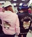 Bombardero chaqueta de las mujeres 2016 la primavera y el otoño HARAJUKU suave rosa bordado gato bomber jacket women abrigos básicos (A5821)