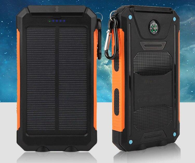 Solar Baterías portátiles real 20000 mAh dual USB externo impermeable polímero cargador de batería lámpara de luz al aire libre powerbank ferisi