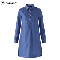 Women S Dress Fashion Retro Spring Autumn Long Sleeves Polo Collar Loose Casual Solid Shirt Denim