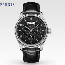 Casual 43mm Parnis Sapphire Crystal Automatic Black Dial Silver Numbers Genuine Leather Watch band Business Wristwatch